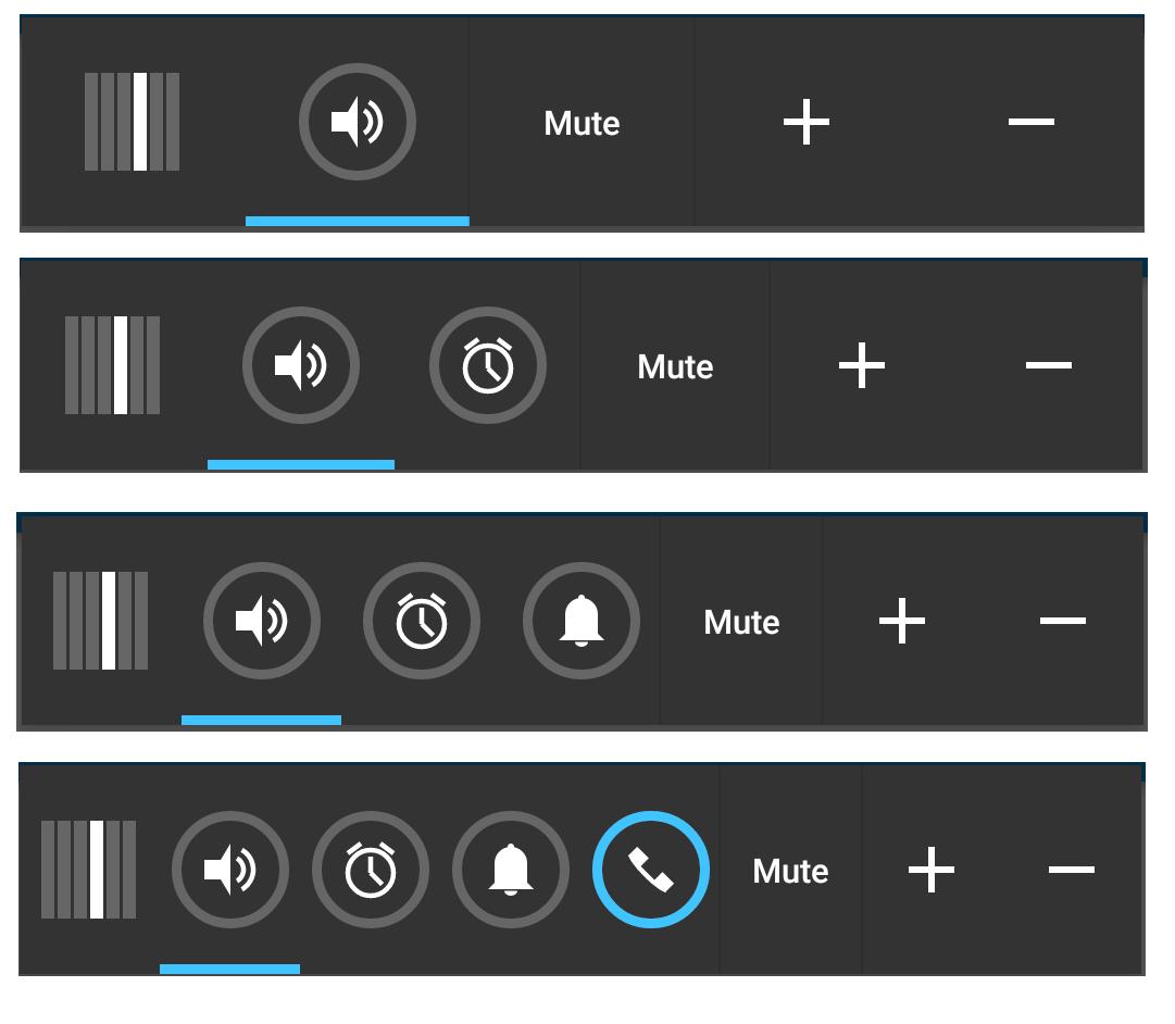 通知領域の音量ボタン(1-4)