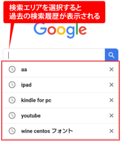 Googleの検索履歴